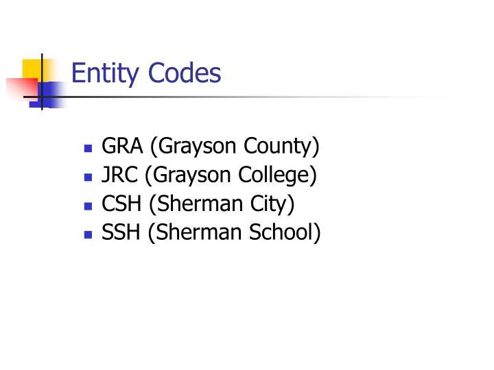 Entity Codes