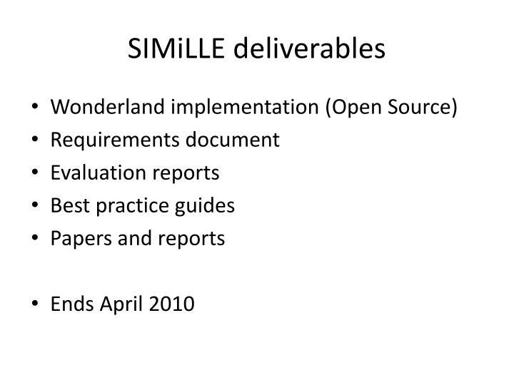 SIMiLLE deliverables