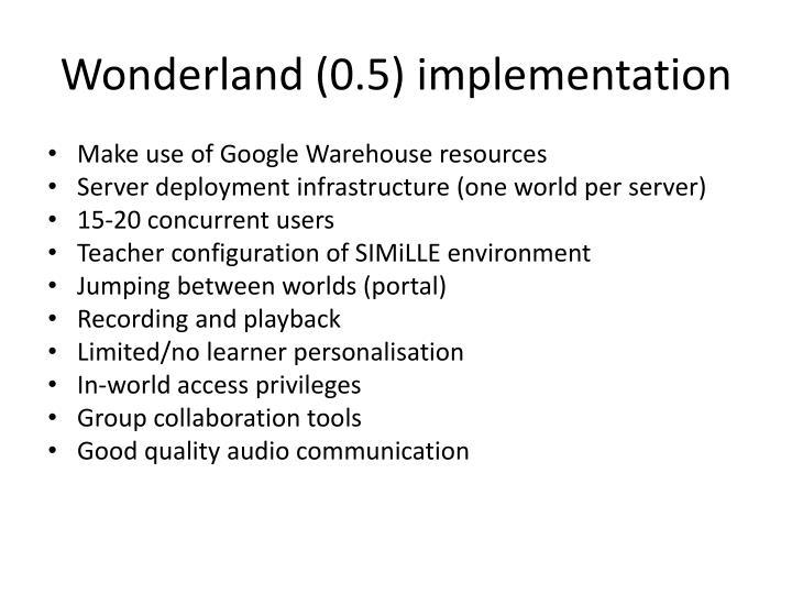 Wonderland (0.5) implementation