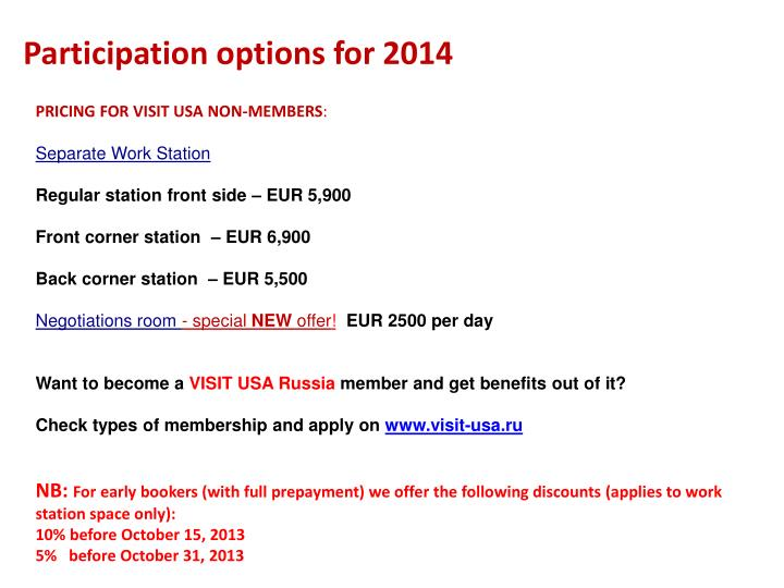 Participation options for 2014