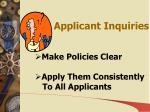 applicant inquiries