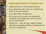 application intake waiting lists