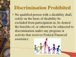 discrimination prohibited