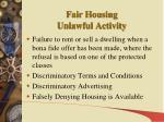 fair housing unlawful activity