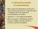 verifying reasonable accommodations
