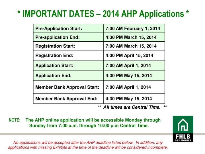 * IMPORTANT DATES – 2014 AHP Applications *