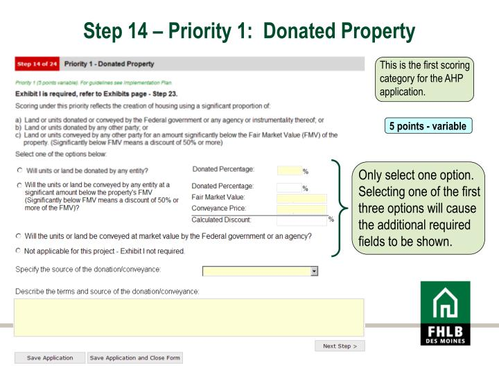 Step 14 – Priority 1:  Donated Property