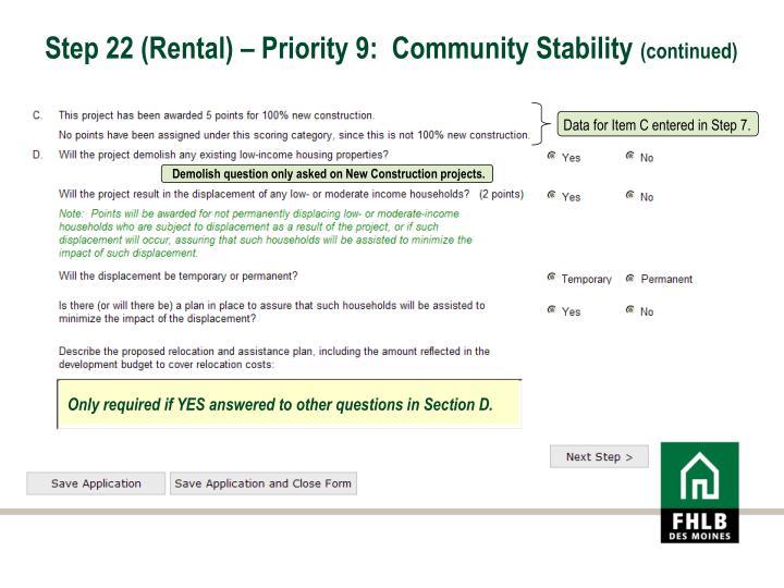 Step 22 (Rental) – Priority 9:  Community Stability