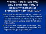 weimar part 3 1928 1933 why did the nazi party s popularity increase so dramatically from 1928 1930