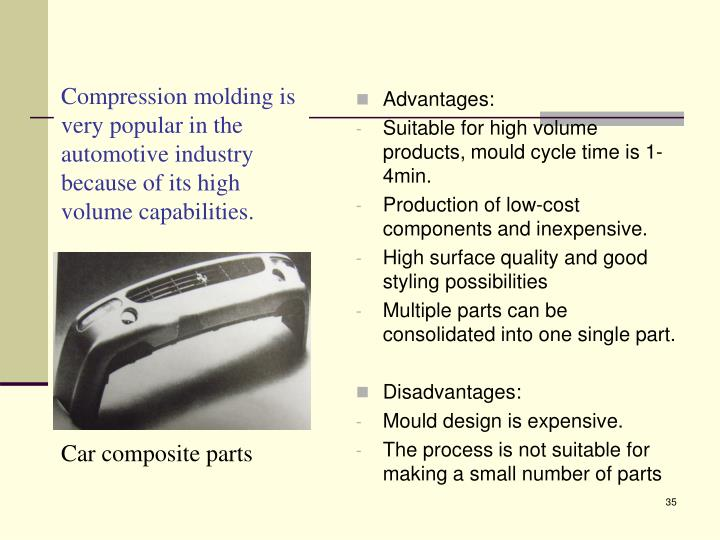 Compression molding is very popular in the automotive industry because of its high volume capabilities.