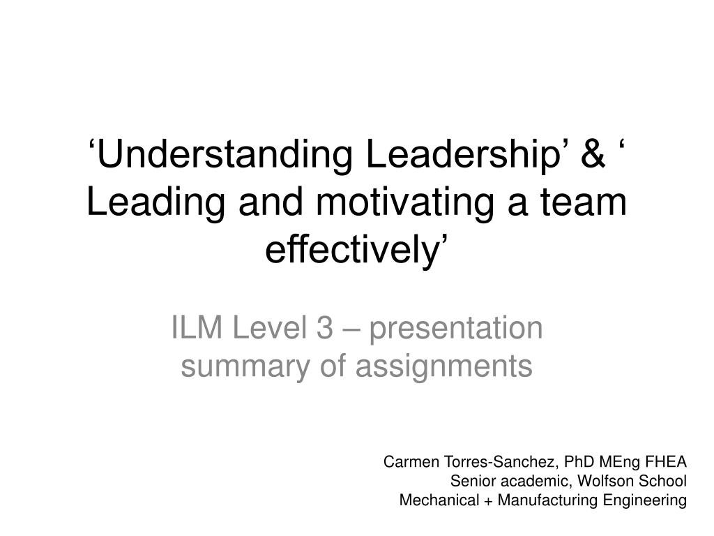 leading and motivating a team effectively