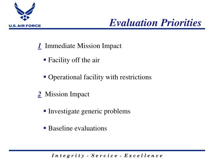Evaluation Priorities