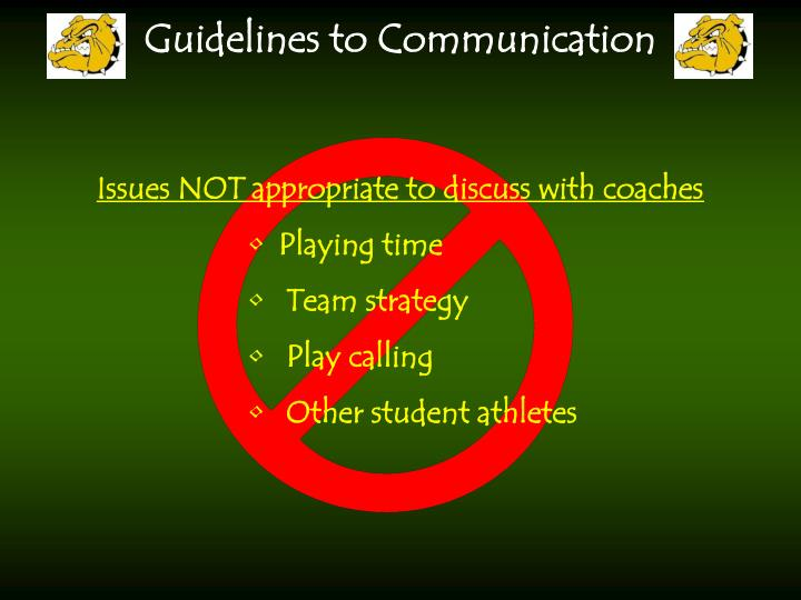 Issues NOT appropriate to discuss with coaches