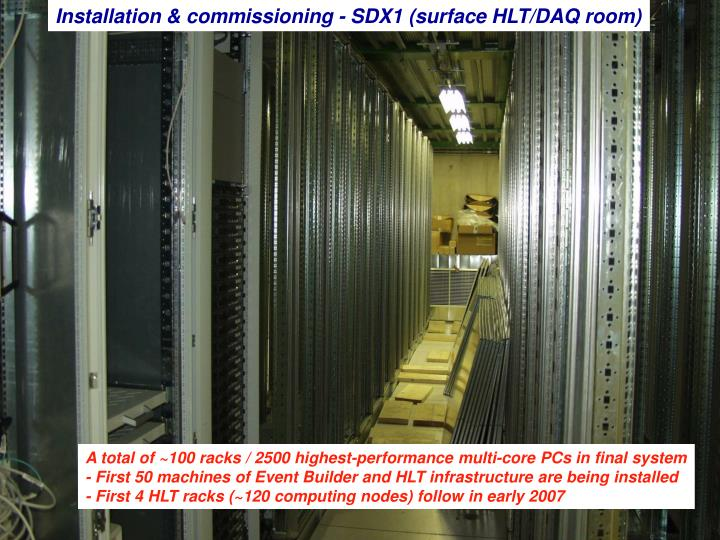 Installation & commissioning - SDX1 (surface HLT/DAQ room)