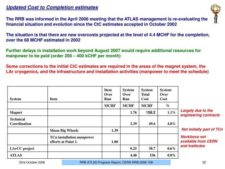 Updated Cost to Completion estimates