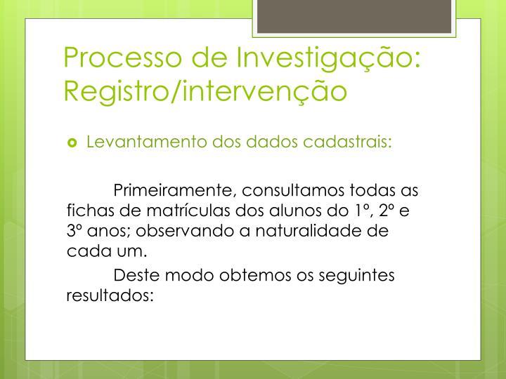 Processo de Investigação: Registro/intervenção