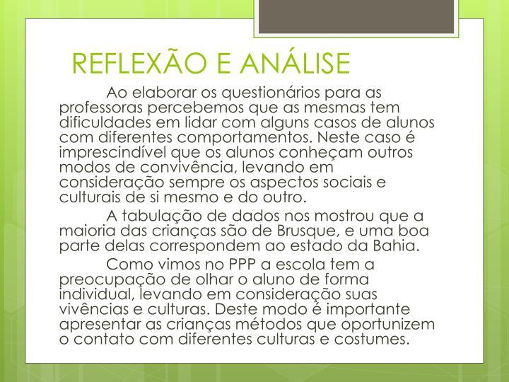 REFLEXÃO E ANÁLISE