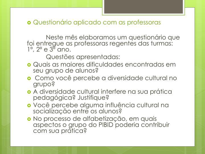 Questionário aplicado com as professoras