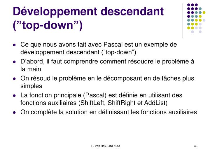 """Développement descendant (""""top-down"""")"""