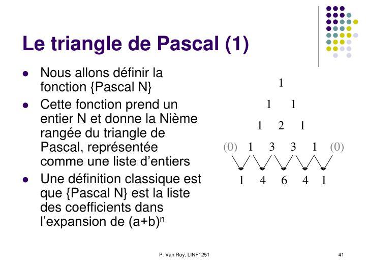 Le triangle de Pascal (1)