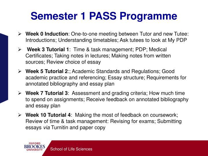 Semester 1 PASS Programme