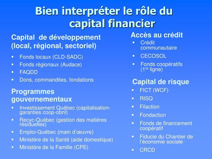 Bien interpréter le rôle du capital financier