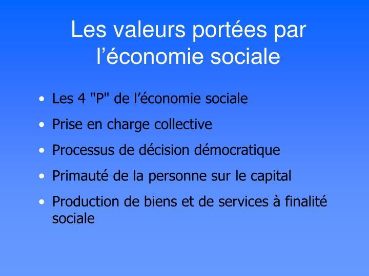 Les valeurs port es par l conomie sociale
