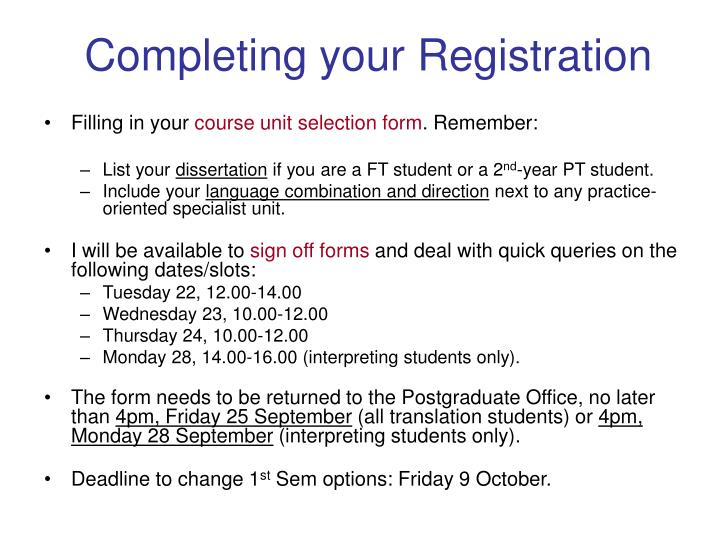 Completing your Registration