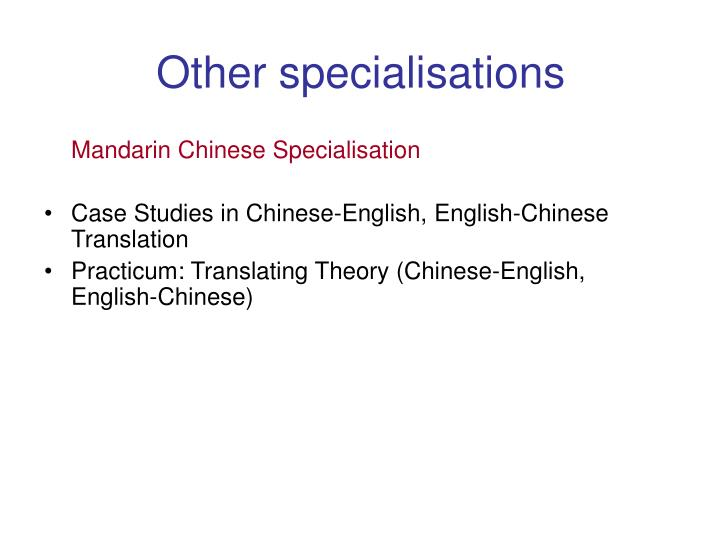 Other specialisations