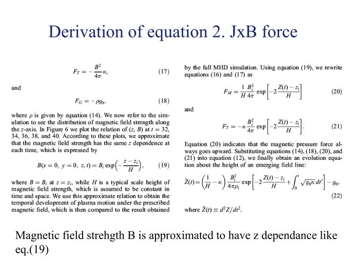 Derivation of equation 2. JxB force
