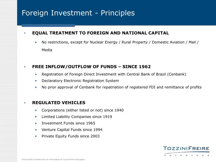 Foreign investment principles
