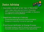junior advising