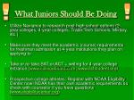 what juniors should be doing