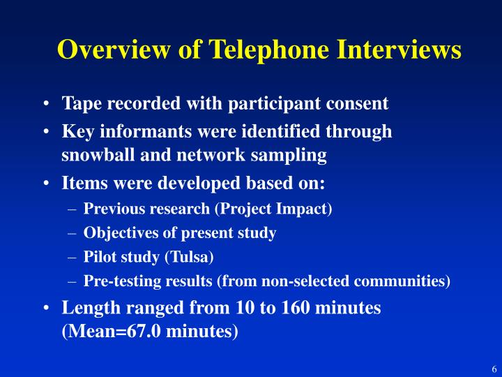 Overview of Telephone Interviews
