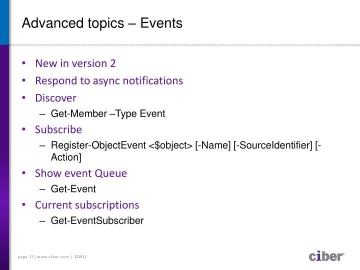 Advanced topics – Events