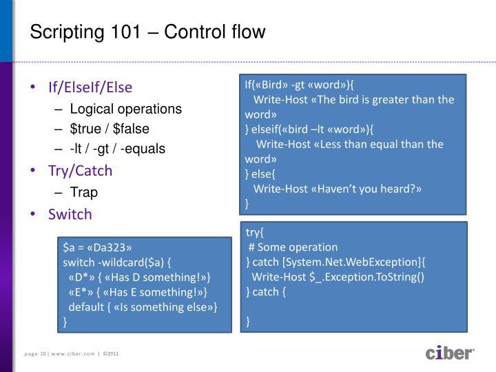Scripting 101 – Control flow