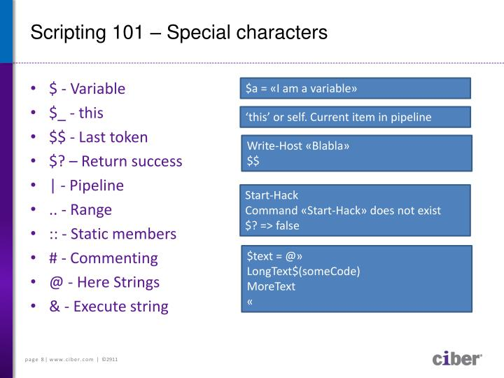 Scripting 101 – Special characters