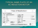 typical name plate of an ac induction motor