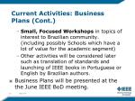 current activities business plans cont