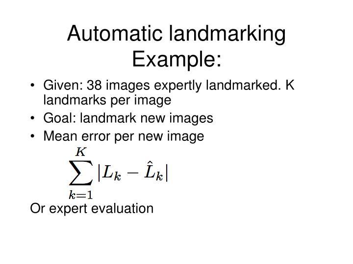Automatic landmarking Example:
