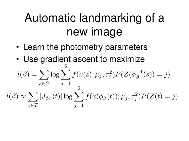 Automatic landmarking of a new image
