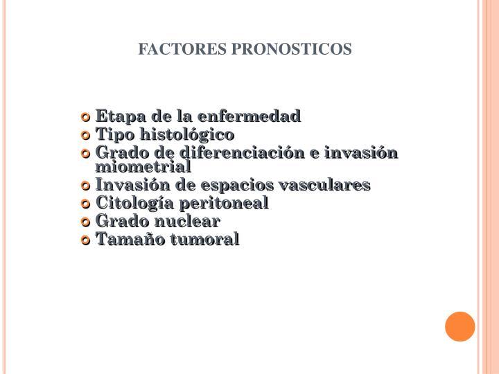 FACTORES PRONOSTICOS
