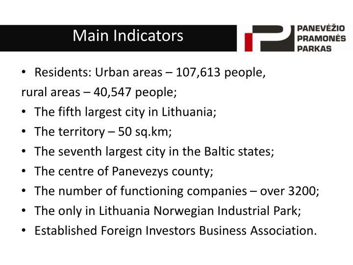 Main indicators