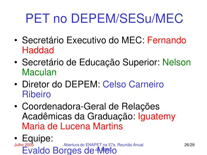 PET no DEPEM/SESu/MEC