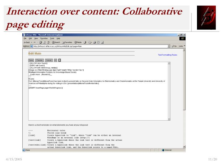 Interaction over content: Collaborative page editing