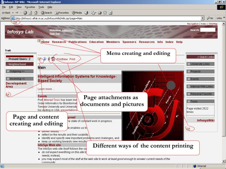 Menu creating and editing