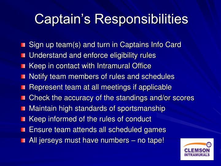 Captain's Responsibilities