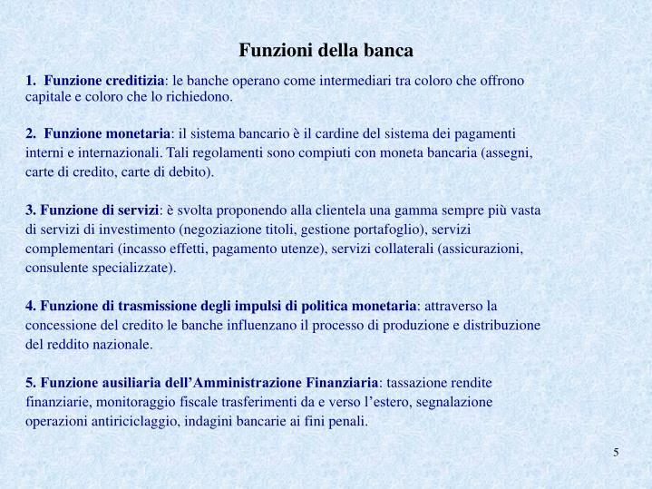 Funzioni della banca