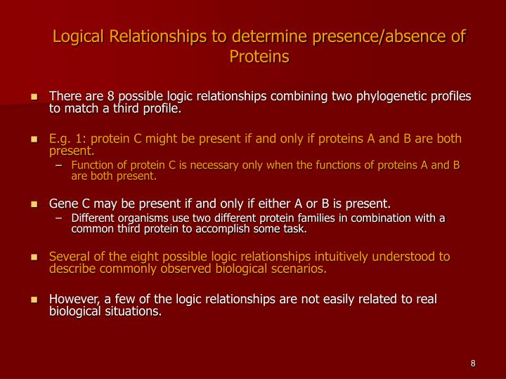 Logical Relationships to determine presence/absence of Proteins