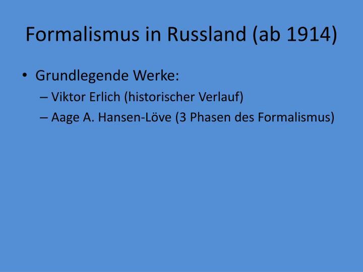 Formalismus in Russland (ab 1914)